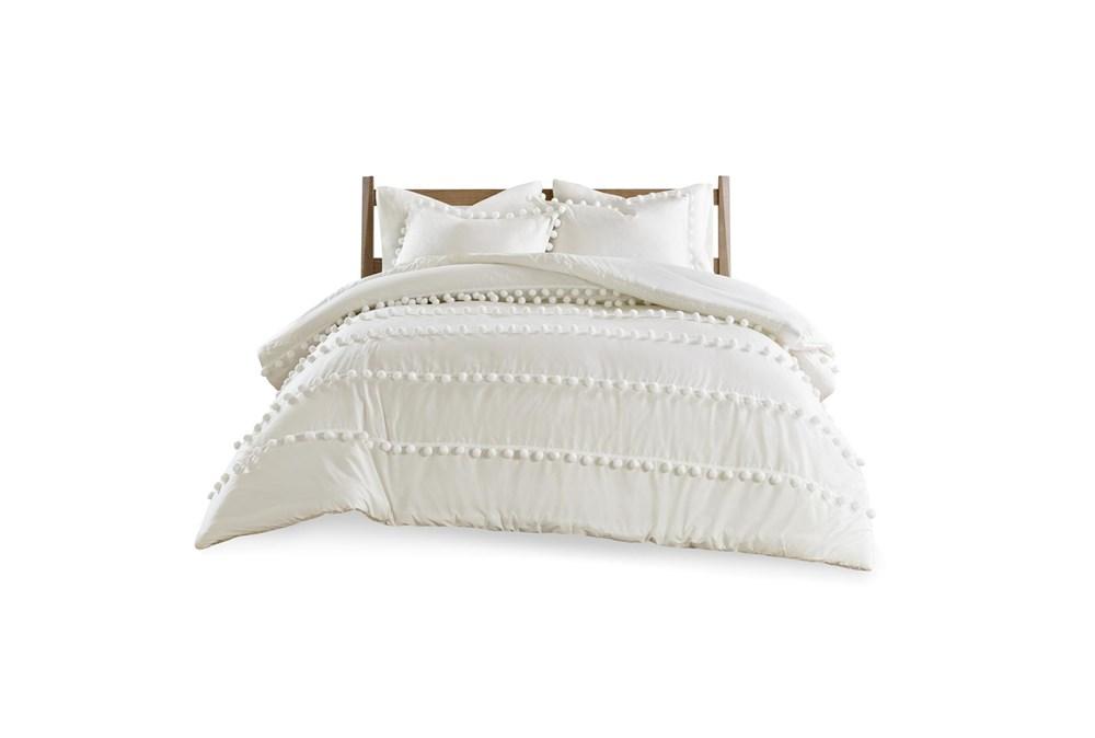 Eastern King/California King Comforter-3 Piece Set Cotton Pom Pom Cream