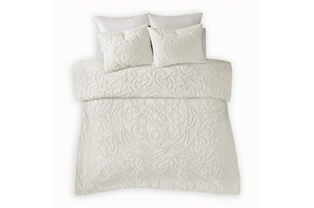 Twin/Twin Xl Comforter-2 Piece Set Tufted Chenille Cream