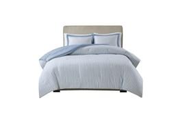 Full/Queen Comforter-3 Piece Set Reversible Stripe Down Alternative Blue
