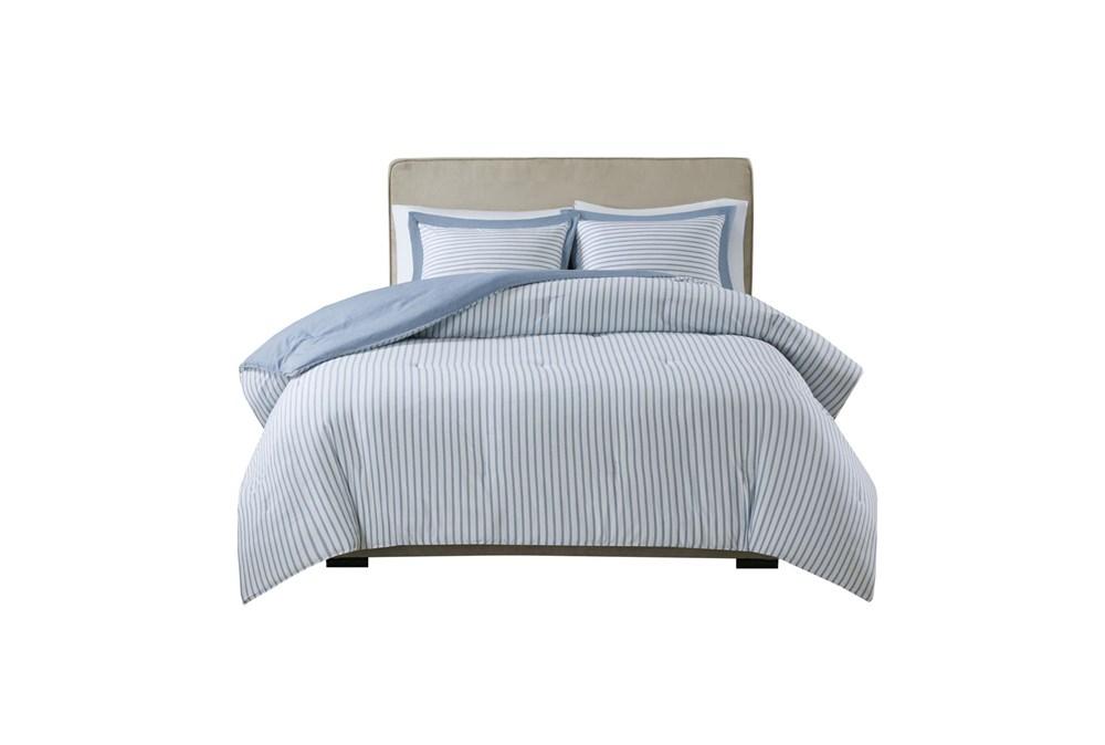 Eastern King/California King Comforter-3 Piece Set Reversible Stripe Down Alternative Blue