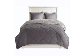 Full/Queen Comforter-3 Piece Set Reversible Diamond Quilting Charcoal