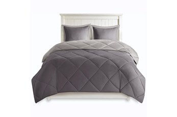 Eastern King Comforter-3 Piece Set Reversible Diamond Quilting Charcoal