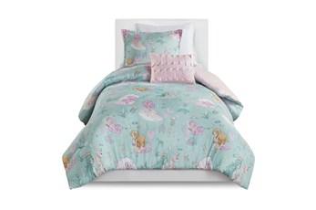 Full/Queen Comforter-4 Piece Set Mermaid Lagoon Aqua