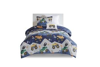 Full/Queen Comforter-4 Piece Set Monster Truck Navy