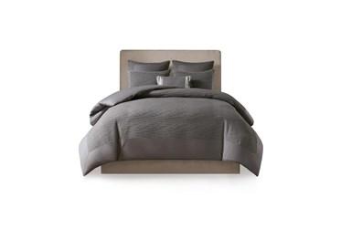 Full/Queen Comforter-3 Piece Set Crinkle Textured Charcoal