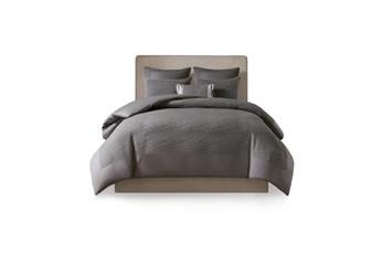 Eastern King Comforter-3 Piece Set Crinkle Textured Charcoal