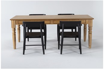 Magnolia Home 5 Piece Taper Turned Organic 84 Inch Dining Table With Captains Chairs Bjg