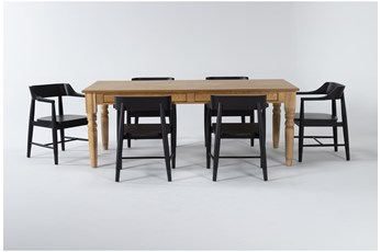 Magnolia Home 7 Piece Taper Turned Organic 84 Inch Dining Table With Captains Chairs Bjg