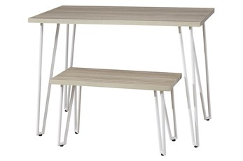 Greer Youth White Leg Desk With Bench