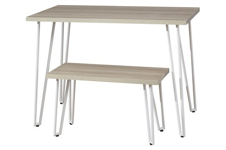 Greer Youth White Leg Desk With Bench - Main