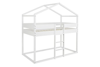 Ellery White Twin Over Twin Loft House Bed