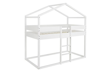 Ellery White Twin Over Twin Loft House Bed - Main