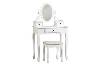 Caitlin White Mirror Vanity With Stool