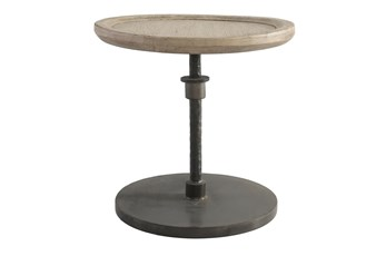19 Inch Round Reclaimed Wood And Iron Accent Table