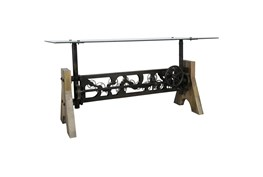 Industrial Gear Metal And Glass Adjustable Height Dining Table