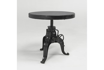 28 Inch Round metal And Glass Gear Adjustable Crank Accent Table