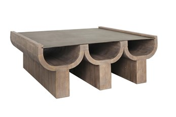 Architectural Reclaimed Wood And Aged Bronze Coffee Table
