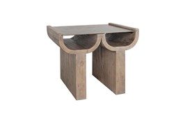 ARCHITECTURAL RECLAIMED WOOD AND AGED BRONZE END TABLE