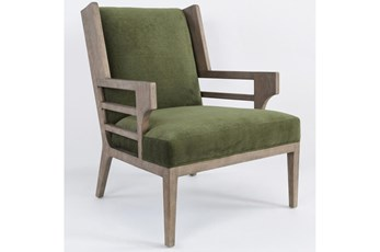 GREEN RUSTIC WOOD WINGBACK ACCENT CHAIR