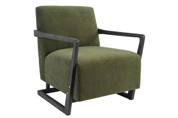 Green Modern Wood Armed Upholstered Accent Chair