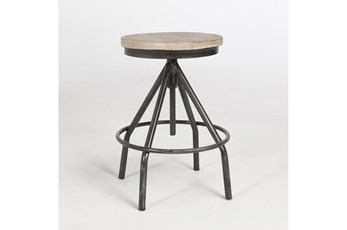 24 INCH ROUND RECLAIMED WOOD AND METAL INDUSTRIAL COUNTER STOOL