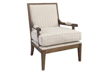 BEIGE STRIPED STRAIGHT BACK BERGERE ACCENT CHAIR