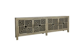 RECLAIMED WOOD GEOMETRIC SQUARES CUTOUT 4 DOOR SIDEBOARD