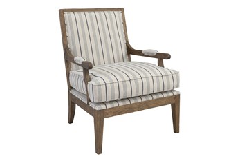 Blue Striped Straight Back Bergere Accent Chair