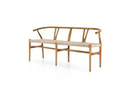 Teak + Wicker Wishbone Bench