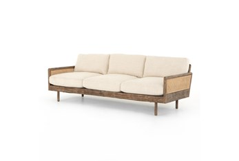 Taupe Sofa With Wood Frame + Cane Inset