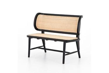 Black Mahogany + Rattan Bench