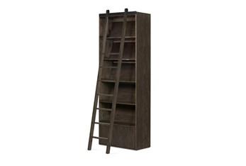 Dark Charcoal Bookshelf And Ladder