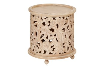 Whitewash Floral Carved Round Accent Table