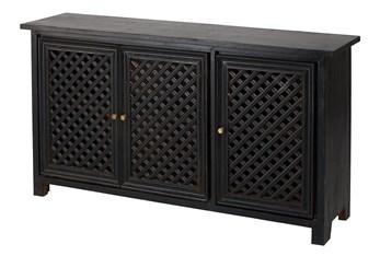 3 Door Black Lattice Sideboard