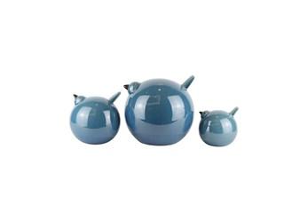Teal Ceramic Birds- Set Of 3