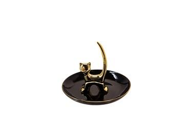 6 Inch Black + Gold Cat Trinket Dish And Ringholder