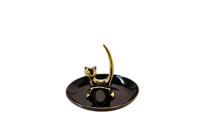 6 Inch Black + Gold Cat Trinket Dish And Ringholder - 360
