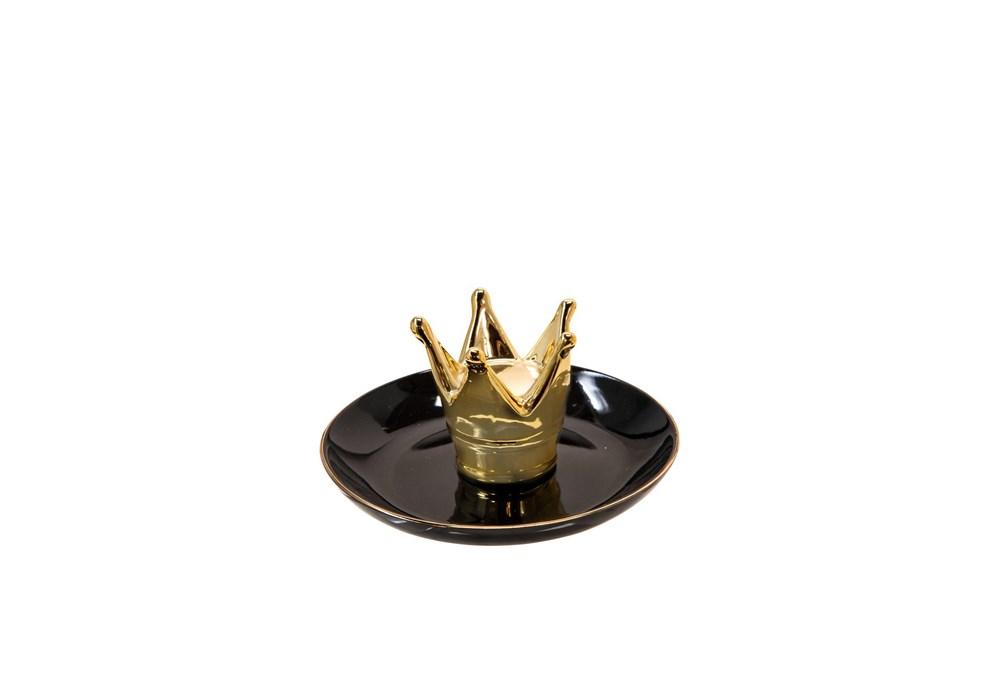 6 Inch Black + Gold Crown Trinket Dish
