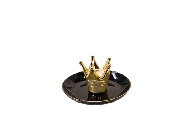6 Inch Black + Gold Crown Trinket Dish - 360