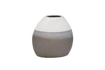 9 Inch Grey + White Ceramic Vase
