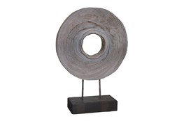 18 Inch Grey Wood Ring On Stand