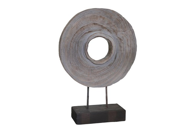 18 Inch Grey Wood Ring On Stand - 360
