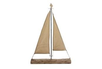 32 Inch Mango Wood Sailboat