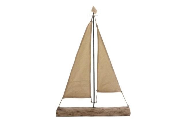 32 Inch Mango Wood Sailboat - 360