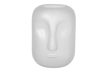 10 Inch White Frosted Glass Face Vase