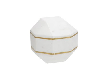 6 Inch White Marble Octagon Orb With Inlay