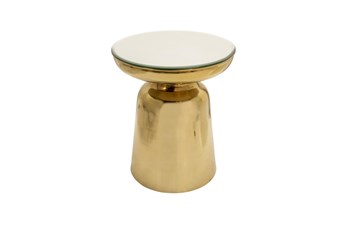 19 Inch Round Gold Metal Side Table With Mirrored Top