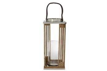 16 Inch Wooden Hurricane Lantern