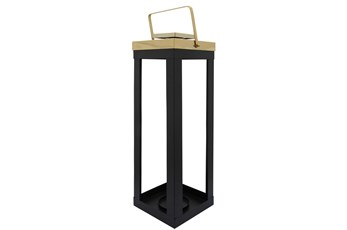 23 Inch Black Metal Lantern With Gold Handles