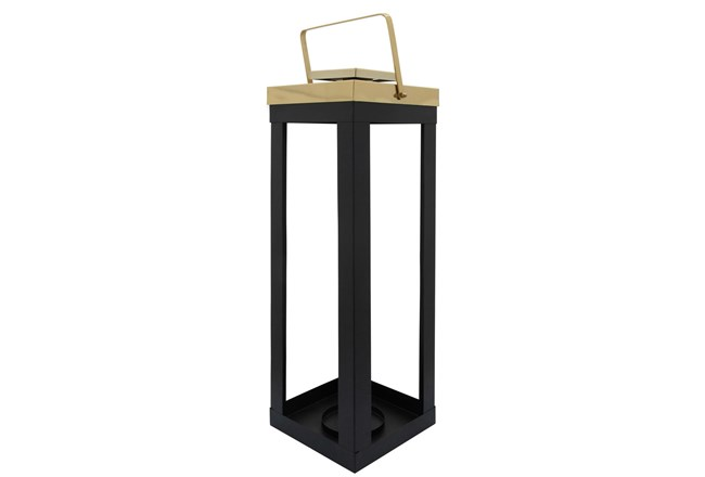 23 Inch Black Metal Lantern With Gold Handles - 360